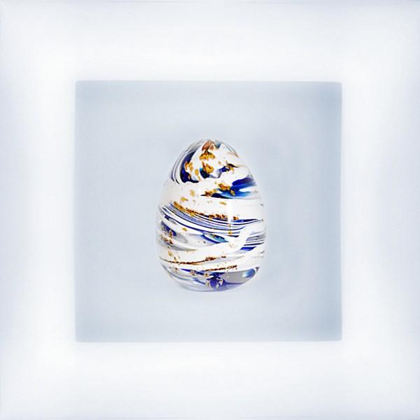 """Oeuf """"Freestyle"""" bleu et blanc"""